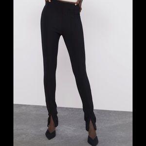 NWT Zara Black Ribbed Legginf W/ ankle zip Size XS